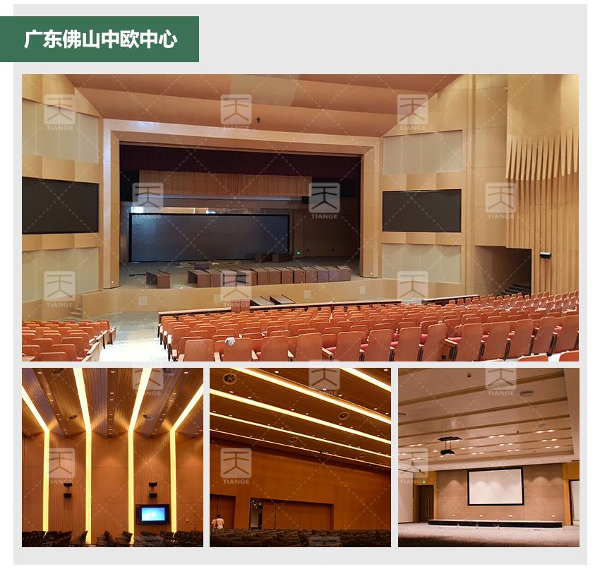 广东佛山中欧中心阻燃槽木吸音板的工程案例