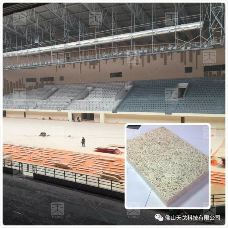 图5 遵义市奥林匹克体育中心用到天戈木丝吸音板