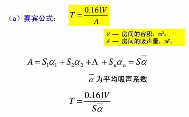 混响时间计算公式之赛宾公式
