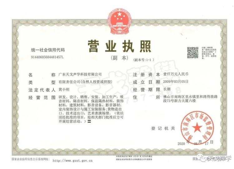 广东天戈声学科技有限公司营业执照